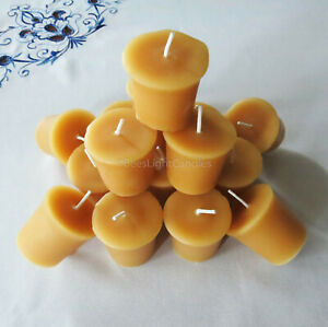 🐝 100% Beeswax Votives Candles / USA Emergency Honey Scent Long Burning BULK 🐝