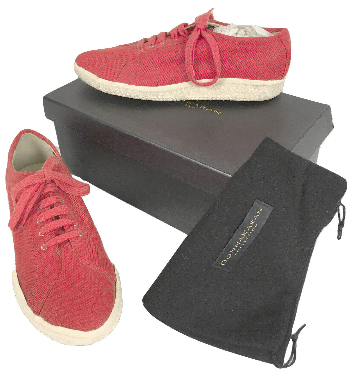 NEW women Karan Collection Sneakers (shoes)   8  Red Canvas  Vintage Style