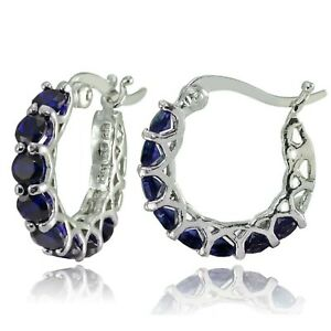 Platinum-Plated-Brass-2-1-10-ct-Natural-Sapphire-Hoop-Earrings-amp-Diamond-Accents