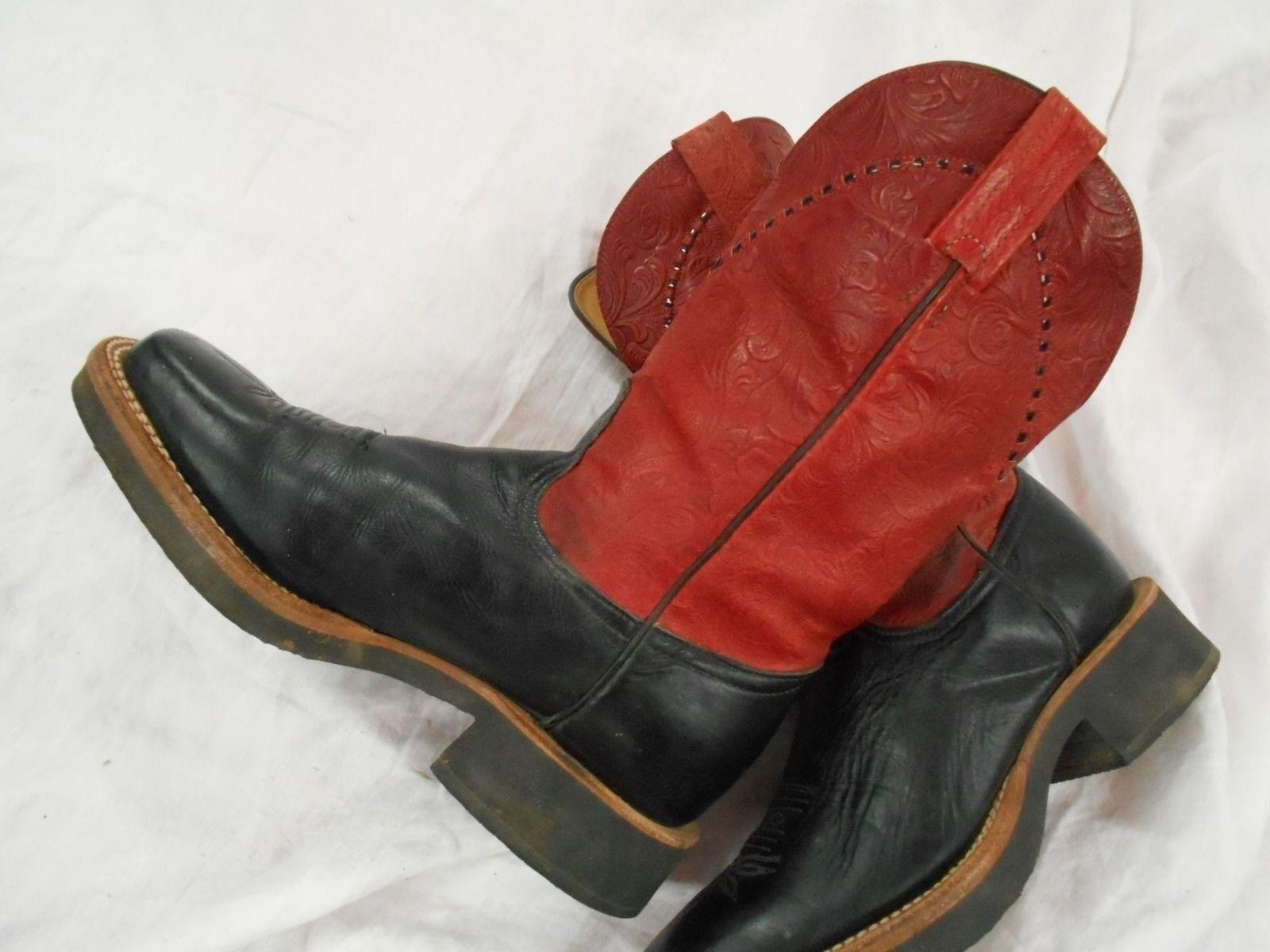 Dedo Dedo Dedo del pie cuadrado rojo Tony Lama de cuero para mujer botas de Vaquero Talla 7 B se adapta a un 8 M  salida
