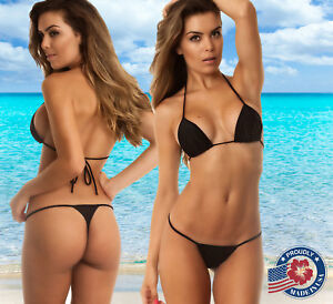 55565c6c3f Coqueta Bathing Suit Black Tri Top + Micro Thong Bottom Swimwear ...