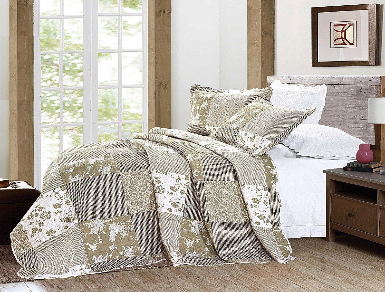 3Pcs Vintage Floral Patchwork Quilted Bedspread Throw Comforter Größe 250 x 270cm