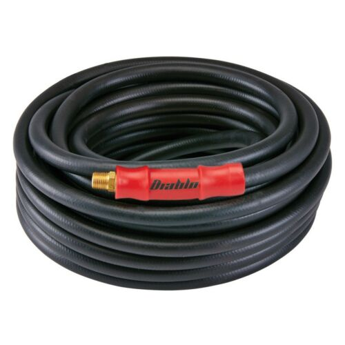 """3//8/"""" x 100 Ft Heavy Duty Air Hose Up to 300 PSI with Solid Brass Male Couplings"""