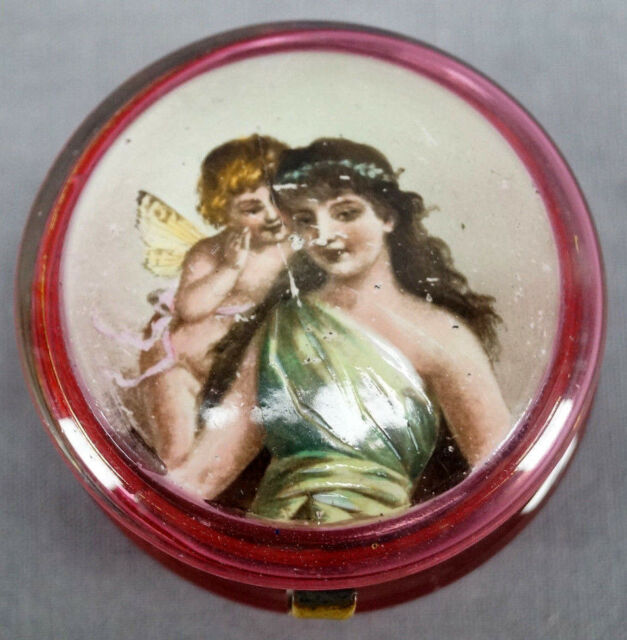 Moser Style Fairy & Classical Lady Hand Painted Cranberry Glass Trinket Box
