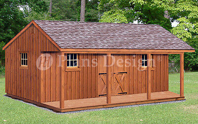 Guest House Shed Or Cabin 16 X 24 Building Plans With Material List P51624 Ebay