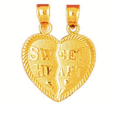 Charm 14k Yellow Gold Sweet Heart Breakable Heart Pendant Made in USA