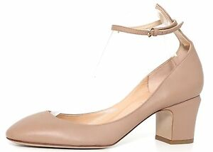 Valentino Garavani Women's Leather Beige Heels Mismatch 3097 Sz 39.5- L 38.5- R