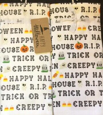 Set Of 2 Halloween Ghost Red Black Cotton Terry Kitchen Dish Hand Tea Towels BOO