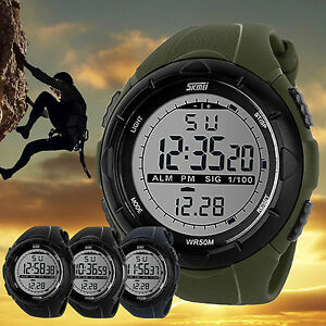 SKMEI-Men-039-s-LED-Digital-Sports-Waterproof-Military-Diving-Digital-Wrist-Watch-AU