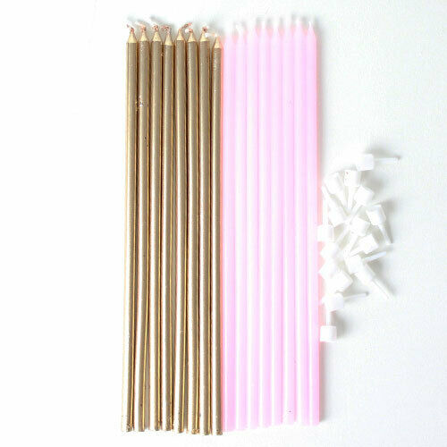16 Extra Tall Pink /& Gold Cake Candles Wedding Happy Birthday Long Decoration