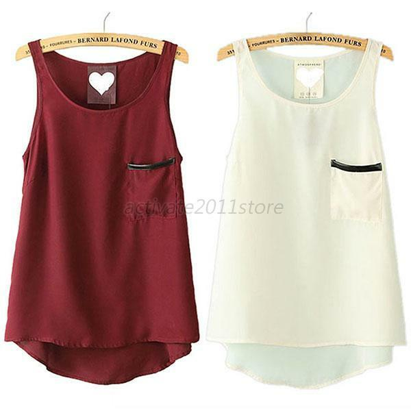 Chic Women Summer Loose Casual Chiffon Sleeveless Vest Shirt Solid Tops Blouse