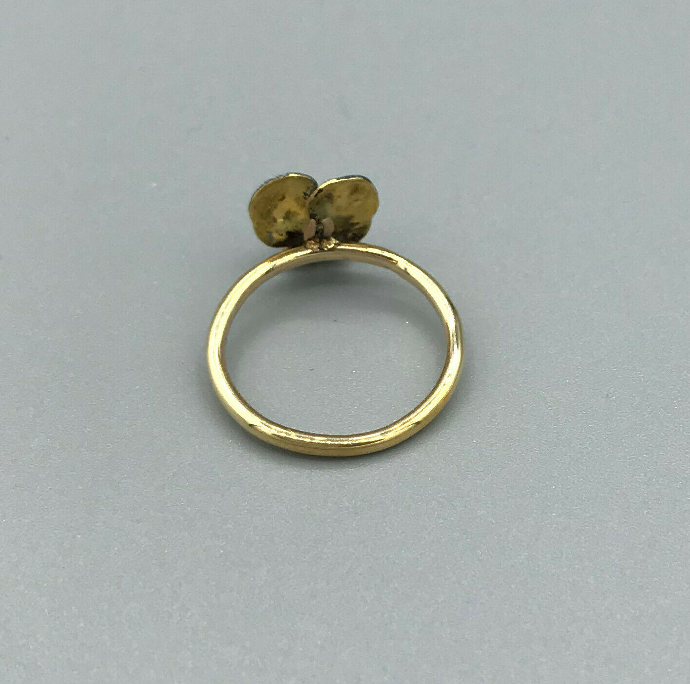 Victorian Pansy enamel ring 14kt pin conversion a… - image 4
