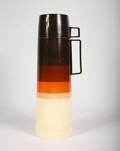 Vintage thermos box Dots orange brown