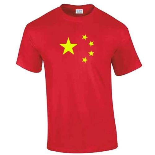 T-Shirt Cina-rosso con stelle gialle-come sulla BANDIERA CINESE-Adulto Per Bambini