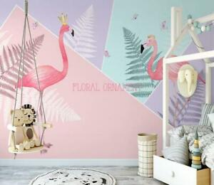 3d Pink Flamingo N2359 Wallpaper Wall Mural Removable Self