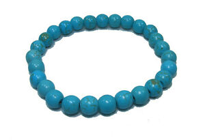 Bracelet de perles TURQUOISE Pierres naturelles teintée 8 mm/ 18cm ou sur mesure