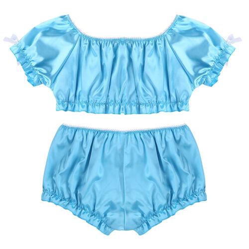 Men Sissy Bra Tops Brief Panties Bikini Thongs Nightwear Lingerie Underwear Set