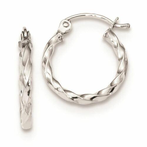 10K White Gold Twist Polished Hoop Earrings MSRP $107