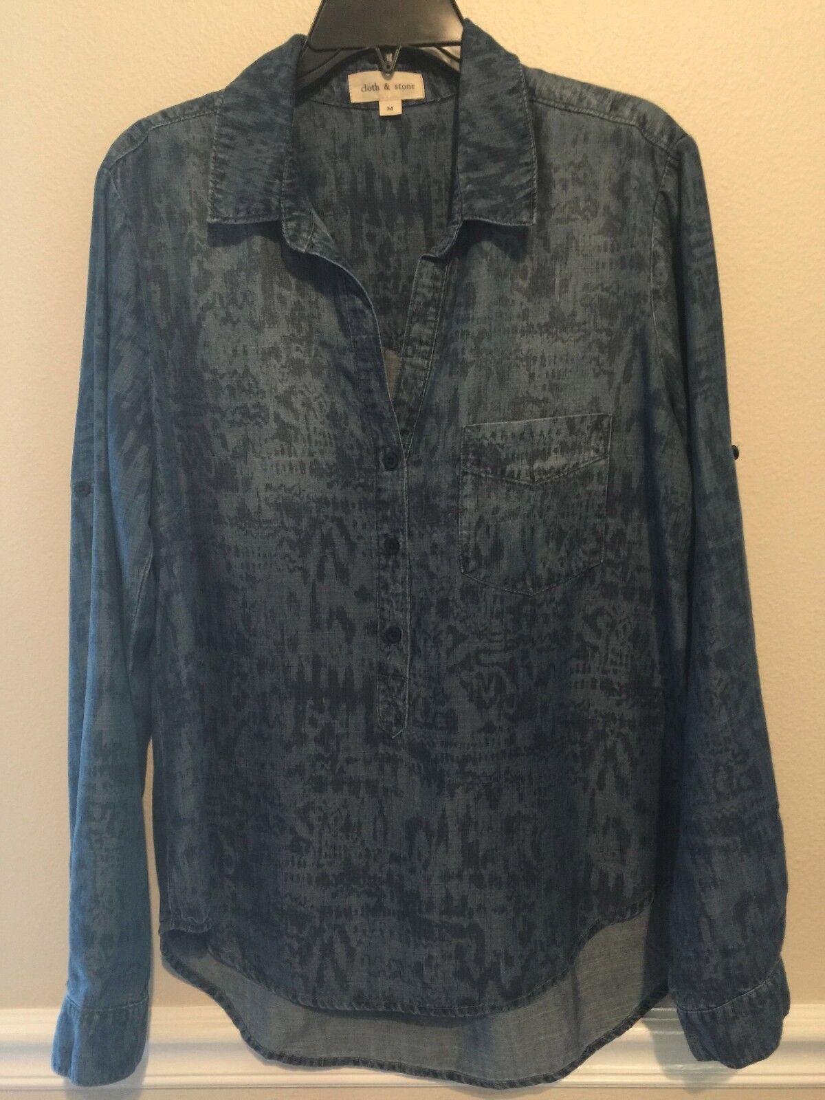 Neu Cloth & Stone Damen Szm eine Tasche Langärmeliges Top Blau Mehrfarbig