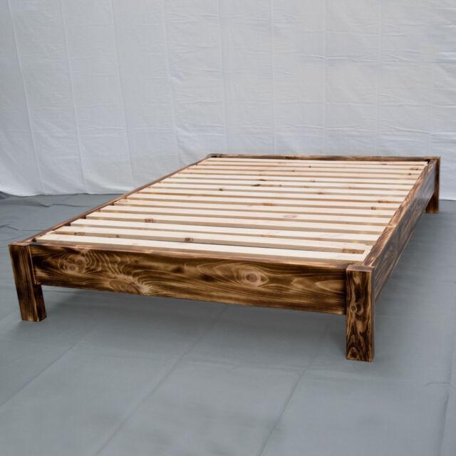 Torched Farmhouse Platform Bed King Wood Platform Reclaimed