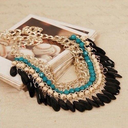 Fashion Jewelry Crystal Chain Choker Bib Chunky Statement Women Pendant Necklace