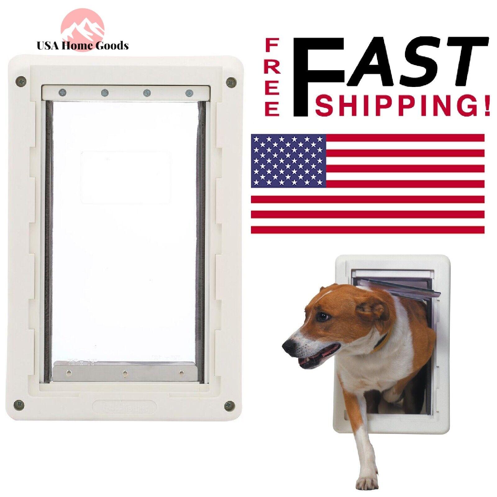 Ruff Weather 7.25  x 13  Frame Pet Door Dual Flexible Plastic Vinyl Flaps Medium