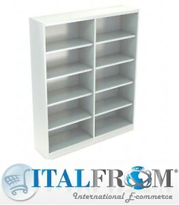 Dettagli su Libreria Doppia Armadio in Metallo per Ufficio Archivio Studio  Profondità 45 cm
