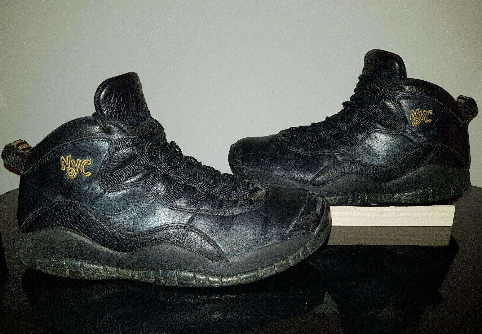 2015 NIKE AIR JORDAN 10 X RETRO 310805-012 NYC NEW YORK CITY BLACK GOLD MENS 10