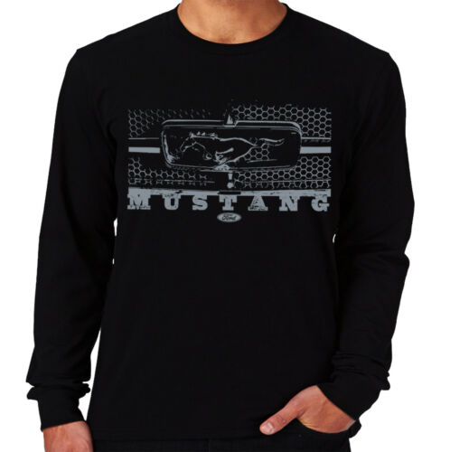 Velocitee Mens Long Sleeve T-Shirt Ford Mustang Grille Muscle Car GT350 A11398