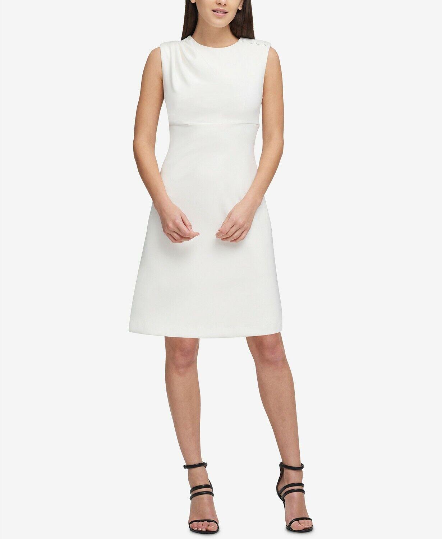 NEW  380 DKNY WOMEN'S WHITE BUTTON-SHOULDER SLEEVELESS SCUBA SHIFT DRESS SIZE 12