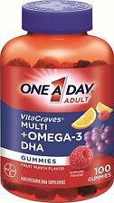 One A Day Adult Vitacraves Multi Plus Omega-3 DHA Gummies, 100 Count