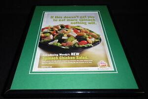 Wendy-039-s-2004-Spinach-Chicken-Salad-11x14-Framed-ORIGINAL-Advertisement