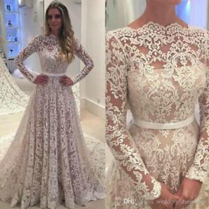 Women-039-s-Long-Sleeves-Lace-Wedding-Dresses-Ball-Gowns-Wedding-Bridal-Gowns-Custom