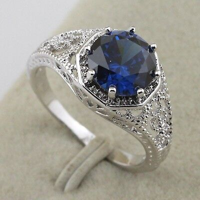 Size 4.5~6.5 Awesome Vogue Jewelry London Blue Sapphire Gold Filled Ring rj1489