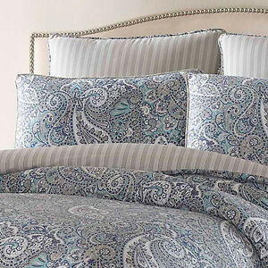 100 Cotton Sateen Deluxe Blue Grey Paisley Comforter King Queen 4