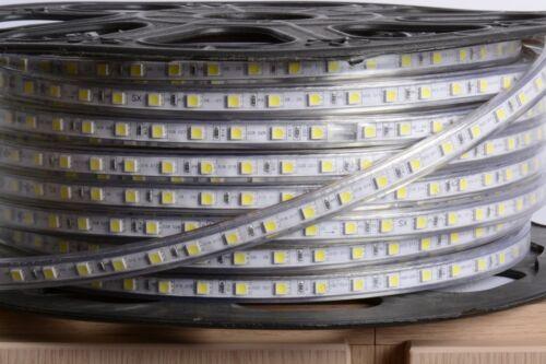 BOBINA UNICA 100m LED STRIP STRISCIA DA ESTERNO 220V BIANCO NEUTRO 4500k