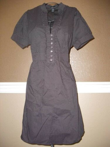 Sam /& Max Brown White Polka Dot Ruffle Mandarin V-Neck Tie Cotton Shirt Dress