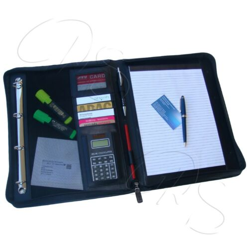 Schreibmappe ECHTES LEDER Aktenmappe BRAUN DIN A4 Echtleder Arbeitsmappe Mappe