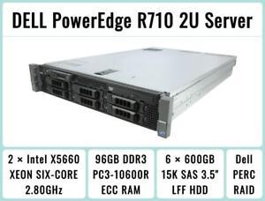 DELL-PowerEdge-R710-Server-2-Six-Core-Xeon-2-8GHz-96GB-RAM-6-600GB-15K-SAS