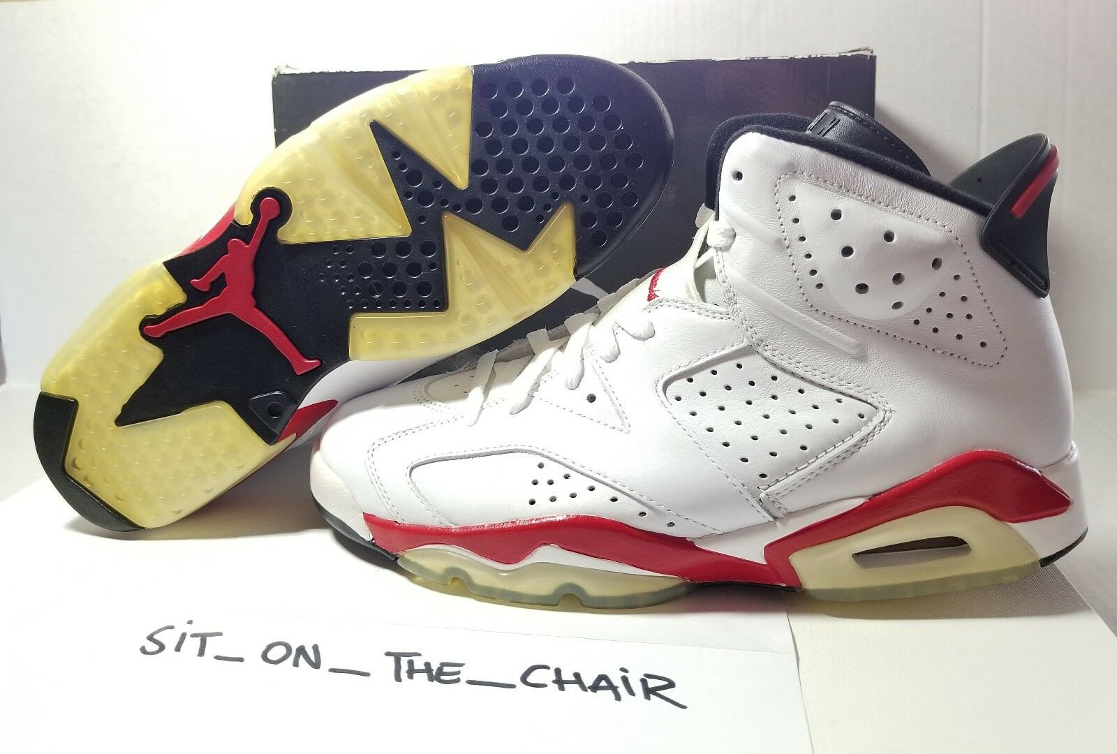 62642e06440c Nike Air Jordan 6 Retro White-varsity Red-black Sz 10 Bulls 384664 ...