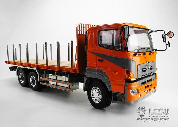 Lesu 1 14 Hino RC 64 de superficie plana Camión Remolque Coche Camión Tractor de chasis de metal Hazlo tú mismo