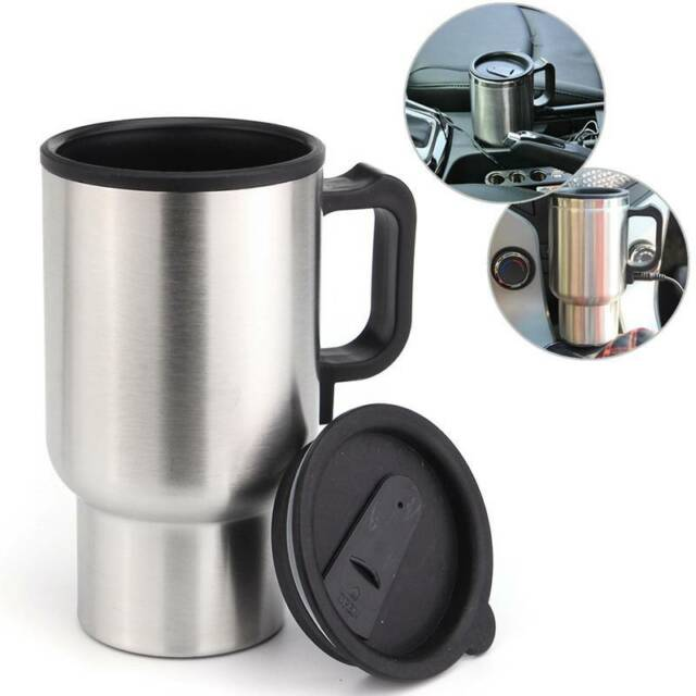 12V Auto Car Heated Cup Stainless Steel Travel Heating Hot Water Coffee Tea Mug
