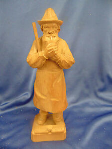 """Old Man wood carving pipe smoking 10"""" high light color ..."""
