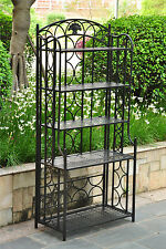 Bakers Rack Plant Stand Indoor Outdoor Patio Wrought Iron 5 Shelf Black  Metal