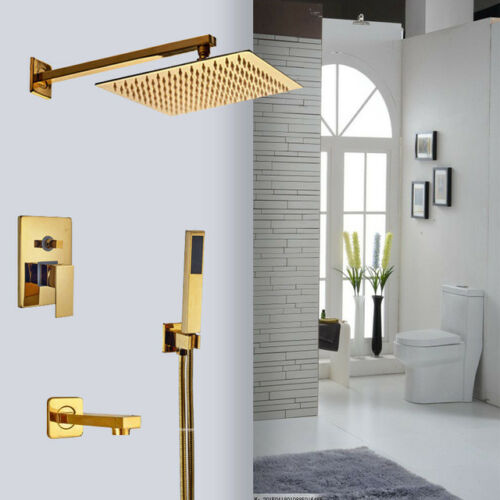 "Celing//Wall Mount Gold 8/"" Square Shower Head Arm Mixer Valve Hand Shower Faucet"