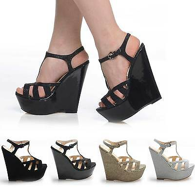 STRAPPY NEW WEDGE ANKLE HIGH HEEL SHOES OPEN TOE GLITTER SUEDE PARTY