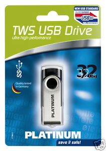 Platinum TWS 32 GB USB-Stick USB 3.0 schwarz 177491