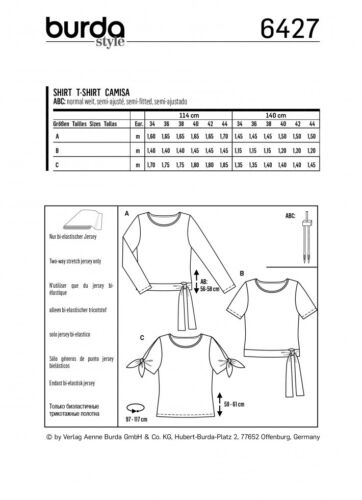 Burda-6427 Burda Ladies Easy Sewing Pattern 6427 Tops with Waist Ties