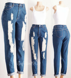 5f1d7569b0 Details about NEW Forever 21 Distressed Denim High Waist Rise Cuff Relaxed  Fit RETRO Mom Jeans