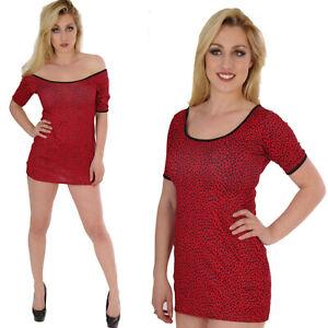 Rojo-Camiseta-De-Manga-Corta-Estampado-de-Leopardo-Vestido-Largo-Superior-alternativa